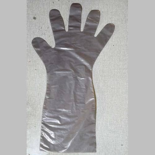 Disposable Gray Poly Elbow length gloves
