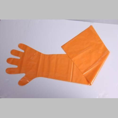 Orange Super Sensitive Veterinary AI Gloves