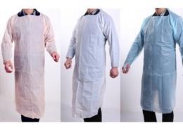 Orange White Blue Green Waterproof CPE Plastic Gowns