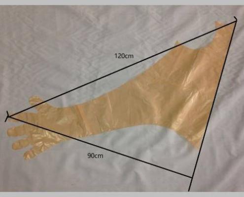 Super Sensitive Examination Long Gloves with Neck Strap 120 CM