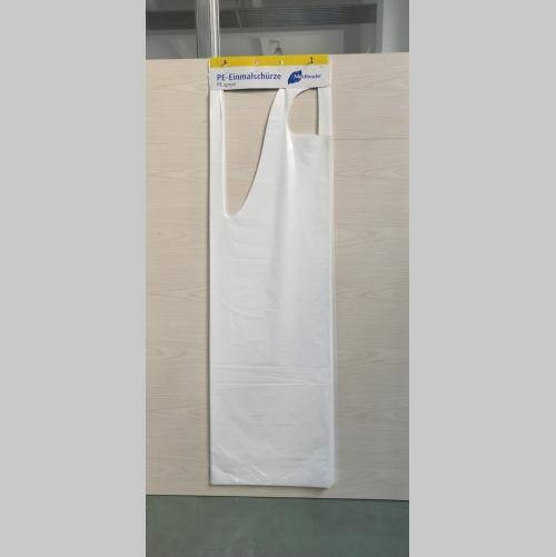 CHEAP WHITE BLUE POLY HANG APRON WITH PAPER CARD