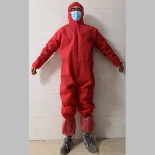 Red Medical Isolation non woven coverall front