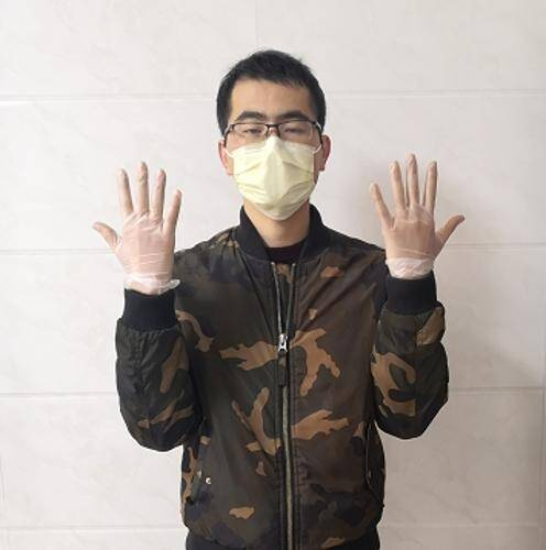 disposable gloves and face mask