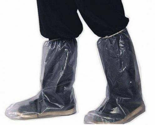 Disposable PE Transparent Blue Rain Embossed long Shoe Cover Boot