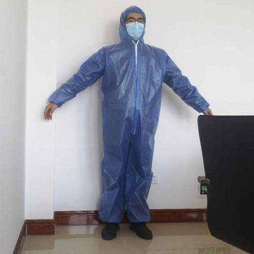 Disposable SMS laminated non woven pe coated front microporous water proof dust free coveralls manufacturer