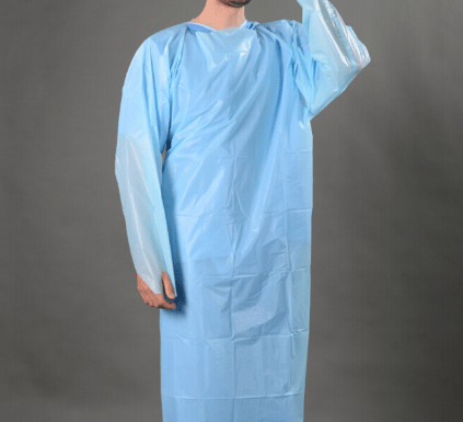 CPE DisposableMedical Plastic Gown, Waterproof apron with Thumb Loop