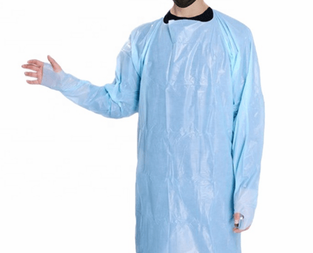 Disposable CPE plastic gowns with thumb hook water proof blood proof islation aprons