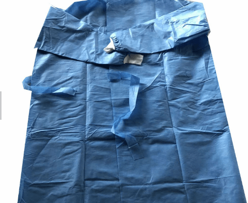 Blue Plastic Consumable Disposable Nonwoven PE PP Isolation Gown