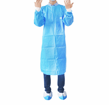 Blue Yellow Isolation water proof Impervious Thumb Secure Chemical gown