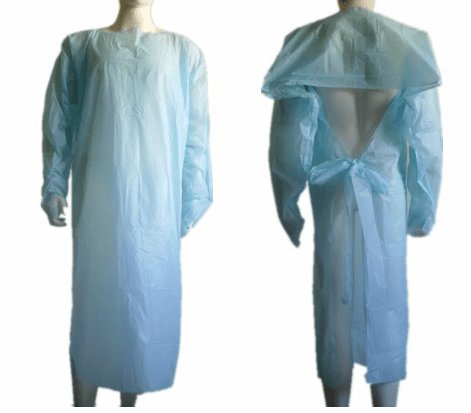 Blue Yellow AAMI Level 3 Disposable CPE prevent isolation Gown With Thumb Up And Open Back proof water and blood