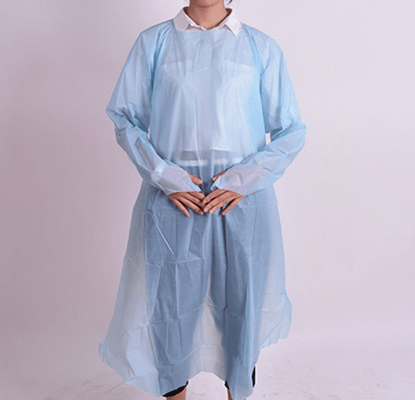 Disposable Blue White PE CPE Impervious Open Back Gown With Thumb Up Sleeves