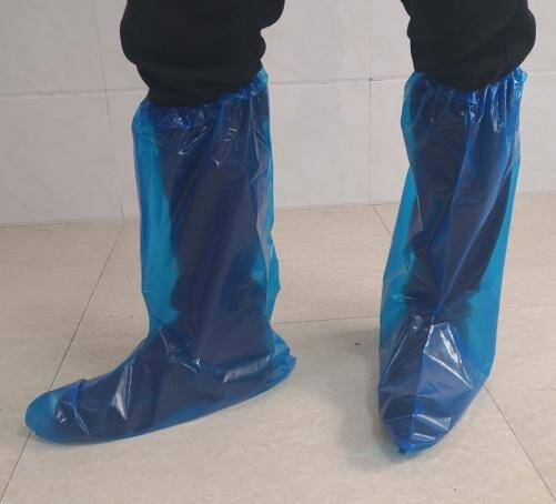 Disposable Plastic water proof virgin PE Blue boots with elastic rubber closure