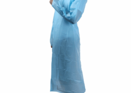 Non Sterile Waterproof Disposable CPE Plastic Isolation Apron Gowns with Thumb Hook and sleeves