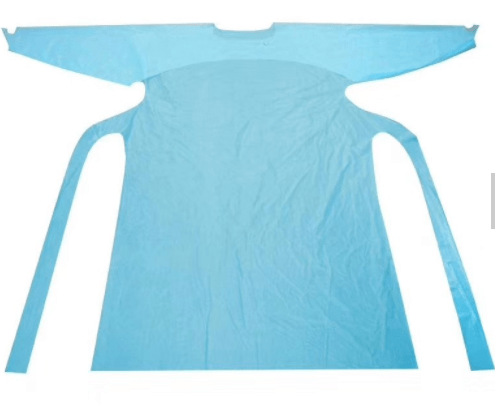 CPE Plastic Gown Disposable Fluid Resistant Protective Plastic Cheap Long Sleeve Apron With Thumb Loop (2)