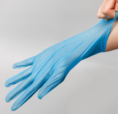 Disposable Blue Thick EmbossingThermoplastic Elastomer TPE Gloves Replacing Vinyl