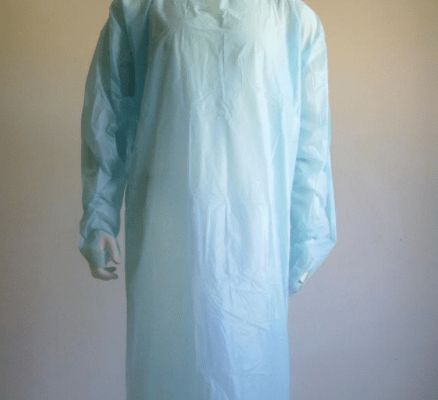New design High Quality lightweight Disposable CPE plastic gown with thumb up