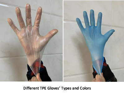 Different TPE gloves' types and Colors