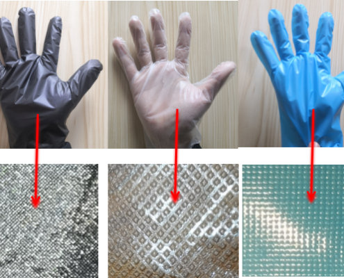 Different embossing type TPE gloves