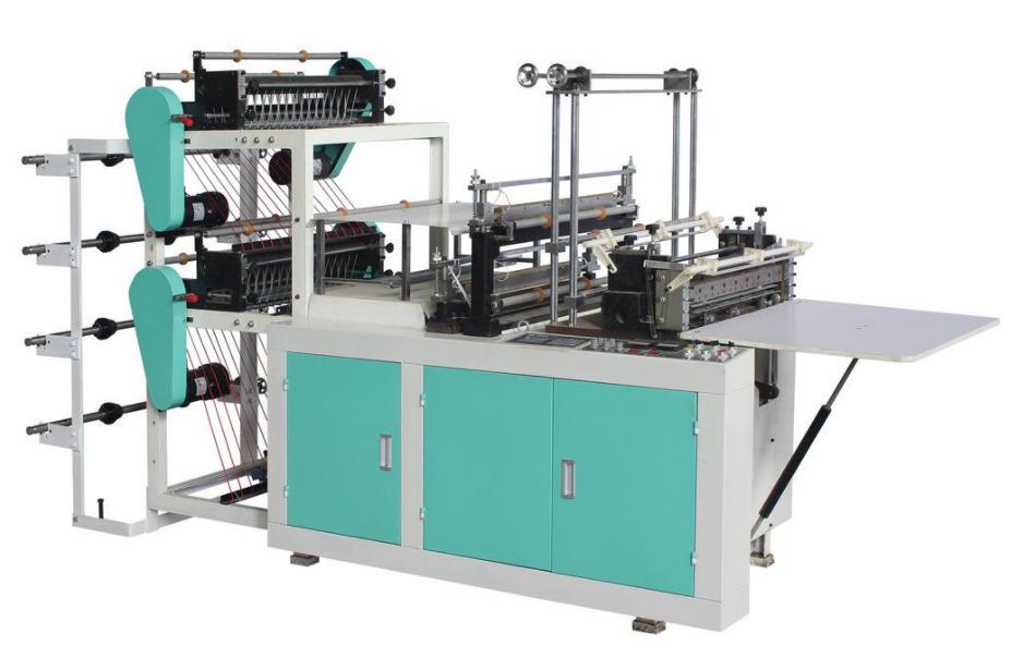 Heat sealing and cold cutting bag making machine