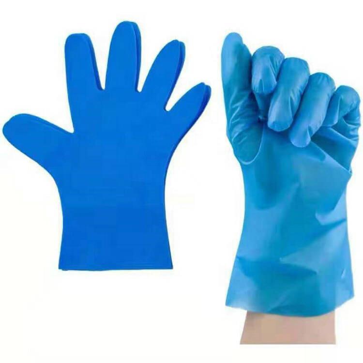 Highly Elastic Waterproof Safety Food Grade Blue TPE Gloves