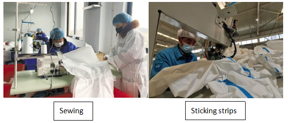 Nonwoven isolation gown and surgical gown making