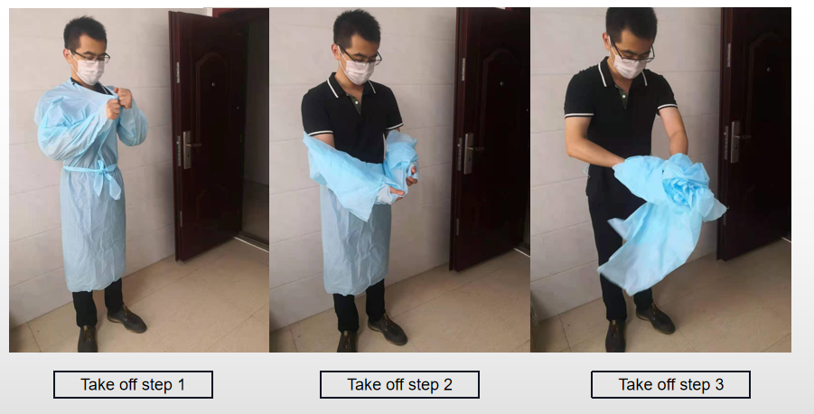 right way to take off the plastic isolation gown