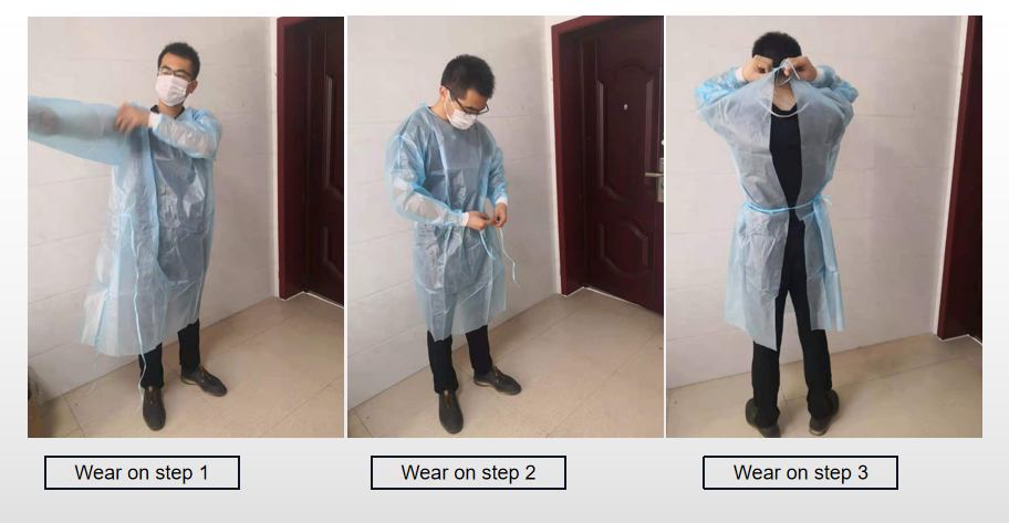 right way to wear on the nonwoven surgical gown
