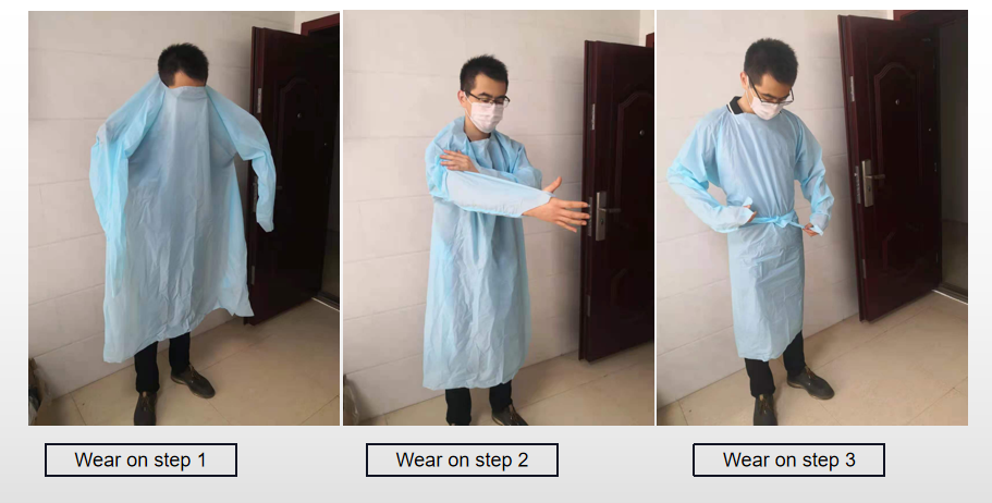 right way to wear on the plastic isolation gown